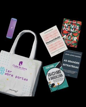 Kit 1: Clube do Livro (4 títulos): Inclui os títulos Humanidade, Fascismo à brasileira, As grandes estratégias e Novas formas de amar + ecobag e marcador